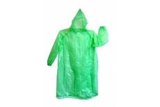 Дождевик ПНД зелёный без застежки с капюшоном и рукавами